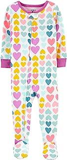 Macacão Pijama Carter's Corações Coloridos Algodão Bebê Menina com Zíper e Pezinho
