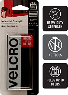 VELCRO Brand Industrial Strength Fasteners | Stick-On Adhesive | Professional Grade Heavy Duty Strength Holds up to 10 lbs on Smooth Surfaces | Indoor Outdoor Use | 4 x 2 inch Strips, 4 Sets, Black