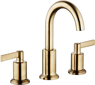 Derengge LFS-0188-CS 8'' Two Handle Widespread Bathroom Faucet with Pop up Drain, Meets UPC cUPC NSF AB1953 Lead Free, French Brushed Bronze Finished, Brushed Gold Finished