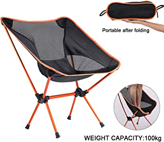 Weanas Ultralight Portable Camping Chair, Lightweight Compact Folding Backpacking Chairs for Outdoors Picnic Beach Travel BBQ with Carry Bag and Two Carabiner (Orange)