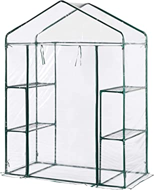 Aoxun Walk-in Greenhouse, PVC Waterproof Transparent Cover,Portable Garden with Zipper Opening Indoor/Outdoor
