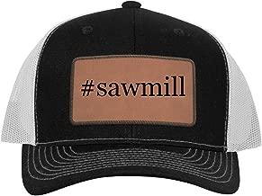One Legging it Around #Sawmill - Leather Hashtag Dark Brown Patch Engraved Trucker Hat