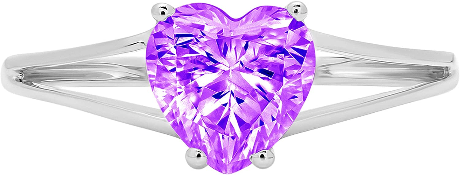 1.4ct Brilliant Heart Cut Solitaire split shank Natural Purple Amethyst Ideal VVS1 4-Prong Engagement Wedding Bridal Promise Anniversary Ring Solid 14k White Gold for Women