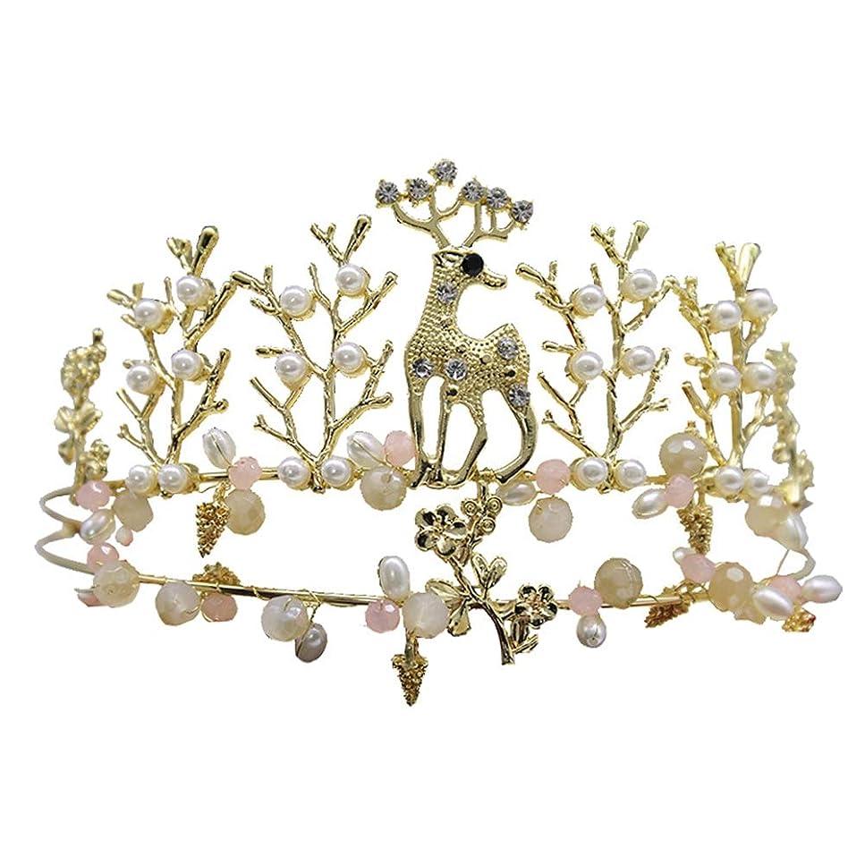 情熱的着る限られたLurrose ゴールドティアラプリンセスパールクラウン鹿装飾クリスタルフラワーヘッドバンドウェディングケーキアクセサリー