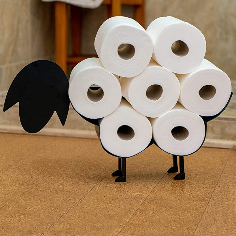 East World Sheep Toilet Paper Holder Free Standing and Wall Mount Toilet Tissue Storage Stand - Roll Holders fit 7X Rolls, and So Adorable! Black Sheep Gifts, Bathroom Accessories, and Fixtures