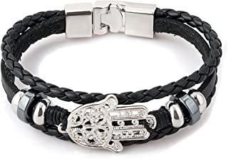 Mens Leather Bracelets Hamsa Hand of Fatima or Eagle or Religious Cross Skull Bracelets