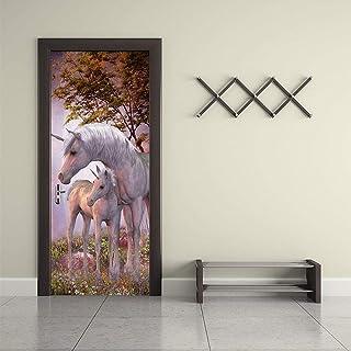 Cheval Porte Art Décor MaisonDIY 3D Porte Autocollants Motif pour Mur Chambre Home Porte Décoration Décoration Accessoires