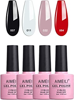 AIMEILI Soak Off UV LED Gel Nail Polish Multicolour/Mix Colour/Combo Colour Set Of 4pcs X 10ml - Kit Set 19