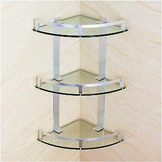 LGR Tier Bathroom Corner Shelves Modern Tempered Glass Aluminum Shower Shelf for Home Wall Mounted Sink Accessories (Size:...