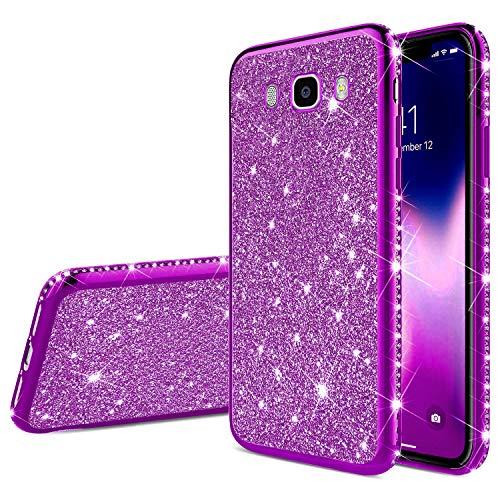 Robinsoni Samsung Galaxy J7 2016 Coque Glitter de Luxe,Coque Silicone Glitter Sparkle Paillette Strass Brillante Etui Housse de Protection Souple en Gel TPU Métal Coque pour Galaxy J7 2016,Violet