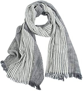 Cotton-Linen Scarves Mens Stripe Crinkle Long Scarf