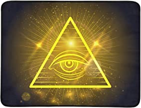 Masonic Eye of Omniscience On Golden Shining Backg Pattern Portable and Foldable Blanket Mat 60x78 Inch Handy Mat for Camping Picnic Beach Indoor Outdoor Travel