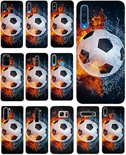 KX-Mobile Hülle für Motorola One Macro Handyhülle Design 1152 Fußball Fussball Weiß Schwarz Orange aus flexiblem Silikon SchutzHülle Softcase HandyCover Hülle für Motorola One Macro