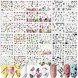 FLOFIA 36 Modelli Adesivi Unghie Trasferimento ad Acqua Nail Stickers Water Decals Decalco...