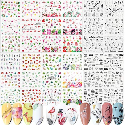FLOFIA 36 Estilos Pegatians Uñas al Agua Decorativas Flamenco Hojas Pluma Frase Tatuaje de Uñas Verano Calcomanías Etiquetas Engomadas Uñas Transferencia Agua Nail Stickers para Decoración Uñas