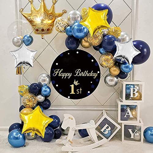Balloon Arch Garland Kit, Blue Gold Latex Confetti Balloons Pack Supplies with Star and Crown Foil Balloons, Navy Blue Balloons, Blue Gold Silver Metallic Balloons, HAPPY BIRTHDAY Banner Cake Topper