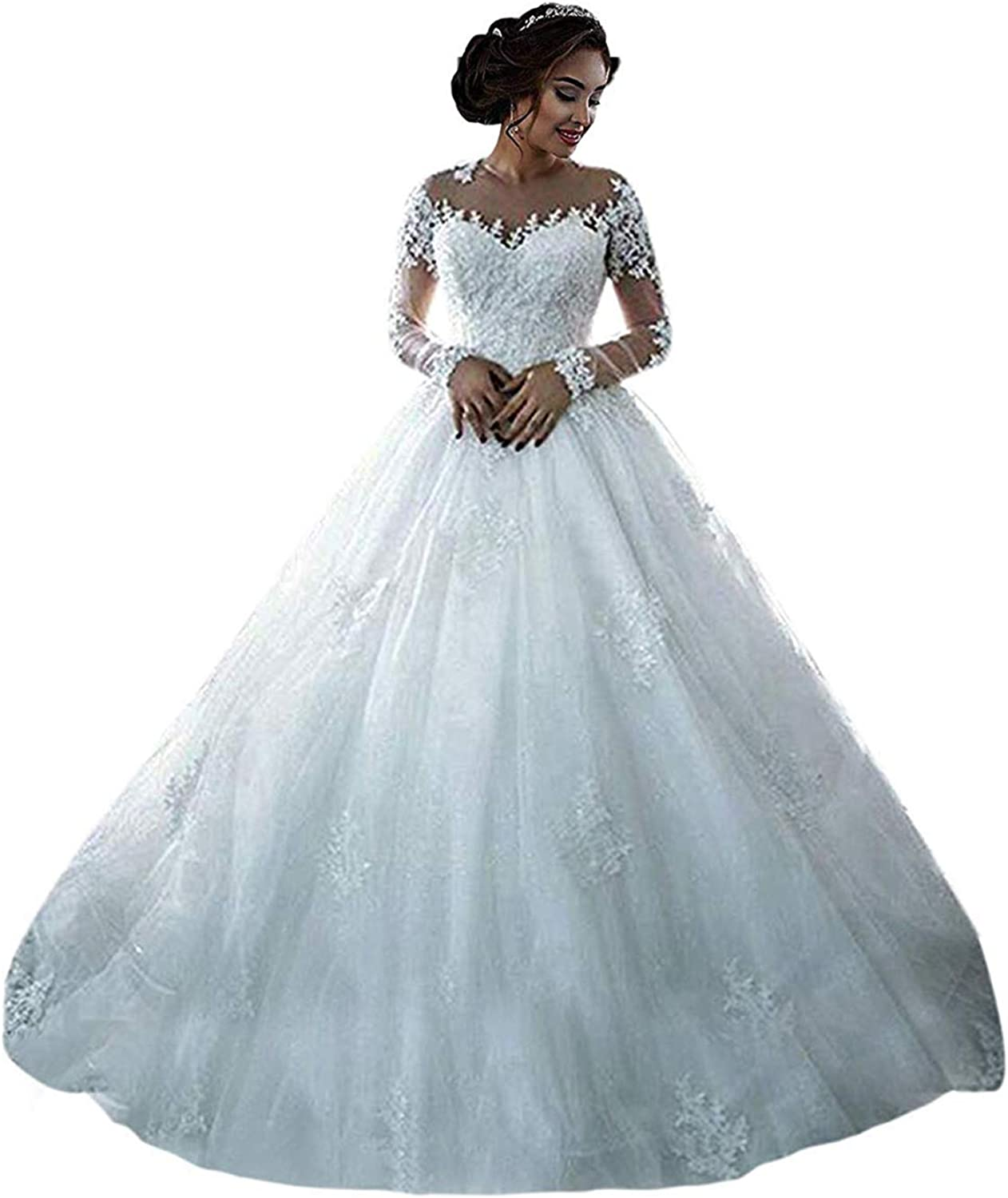 RYANTH New Women's Long Sleeves O Neck Lace Ball Gown Wedding Dress Bridal  Gowns R18