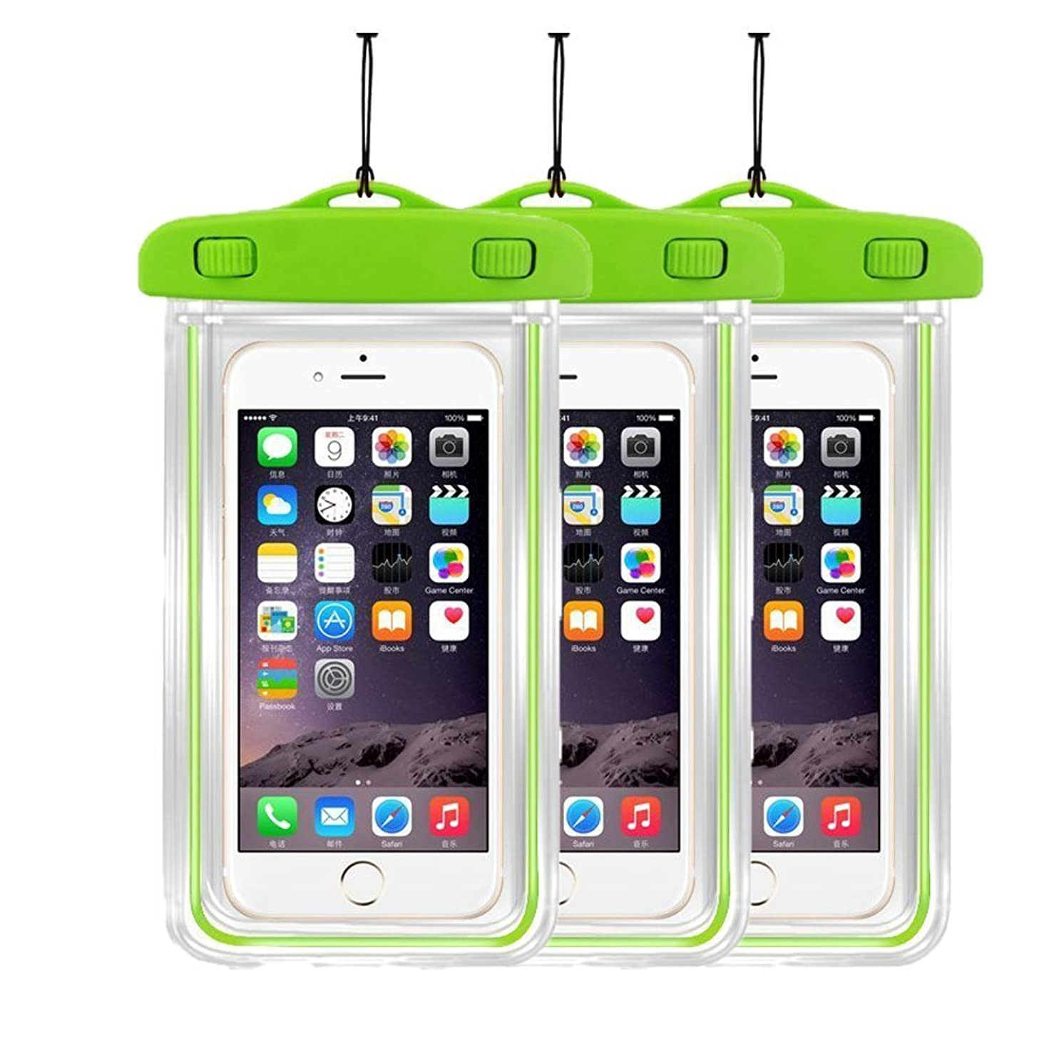 [3PacK] Waterproof Case Universal CellPhone Dry Bag Pouch CaseHQ for Apple iPhone 8,8plus,7,7PLUS 6S, 6, 6S Plus, SE, 5S, Samsung Galaxy S8 ,S8plus, S7, S6 ,LG Sony Nokia Motorola up to 5.8