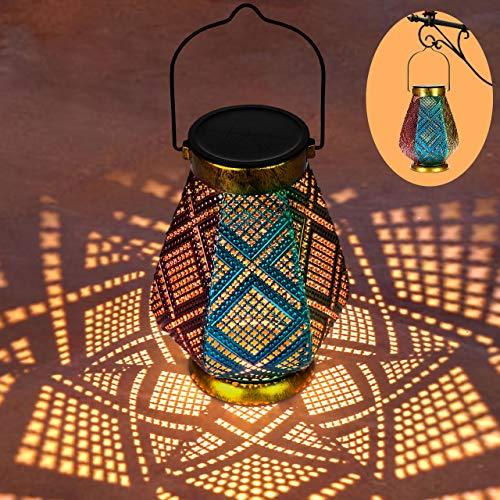 LED Solarlaterne für Außen GolWof 3 Farbe Metall Solar Laterne für Draußen mit IP44 Wasserdicht Solarlampen für Außen Garten LED Dekorative Laterne für Patio Balkon Terasse [Energieklasse A++]
