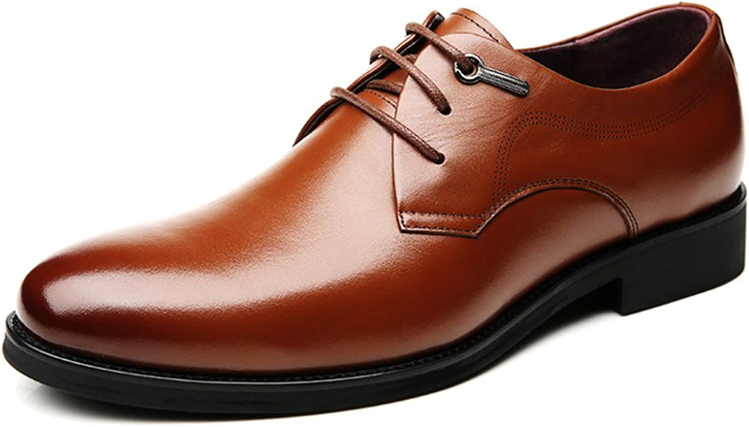 Men's Business Derby Real Leather shoes Formal Dress Lace Up Round-toe shoes For Gentleman Male Work Party Wedding