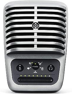 ميكروفون رقمي مكثف بغشاء كبير MV51 من شور، بكابل USB واضاءة، 5 اعدادات دي اس بي، مضخم صوت مدمج، بدون تاخير او بطء، مقبس لس...
