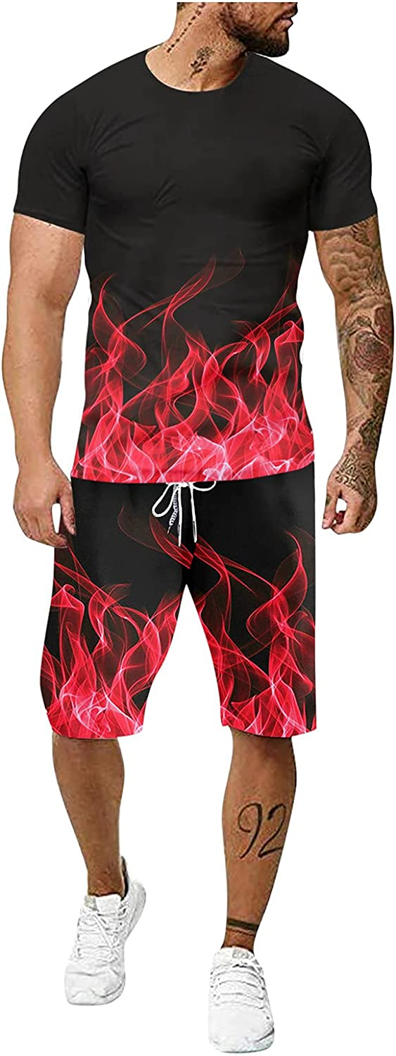 VEKDONE 2021 Mens Fashion Sport Set 2 Piece Outfits Tracksuit 3D Gradient Short Sleeve T Shirts and Shorts Casual Suit Set