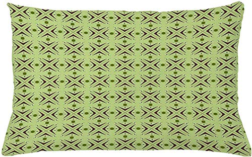 shyly Mid Century Throw Pillow Kissen, Atomic Form with Boomerang Details Dots and Crossed Lines, dekorativer rechteckiger Akzent Pillow Case, 26 x 16 Zoll, Green Plum