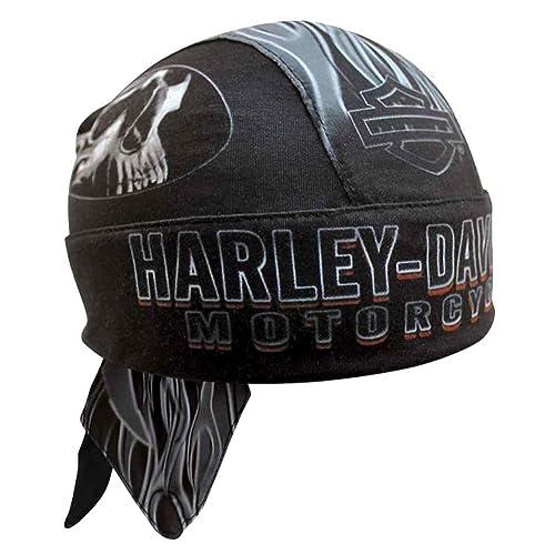 Harley-Davidson Mens Engulfed Flaming Skull Head Wrap, Moisture Wicking HW15290 Black