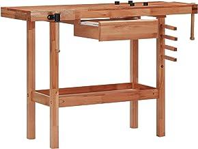 Tidyard Banco de Trabajo carpintería con cajón y 2 mordazas Madera Dura