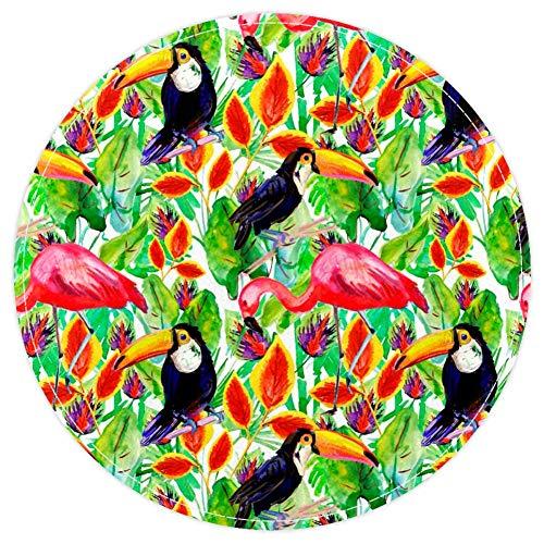 EZIOLY Tropische Flamingos Toucan Anti-Rutsch Waschbare Runde Fläche Teppich Badteppich Badteppich für Wohnzimmer Schlafzimmer Küche Baby Spielzimmer 40 x 40 cm