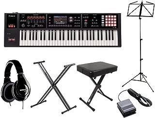Roland FA-06 シンセサイザー ブラック 61鍵盤 自宅練習セット (スタンド + ダンパーペダル + ヘッドホン + 譜面台 + 高低イス) 初心者セット ローランド