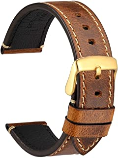 WOCCI 18mm 20mm 22mm 24mm Watch Band - Premium Saddle Style Vintage Leather Watch Strap