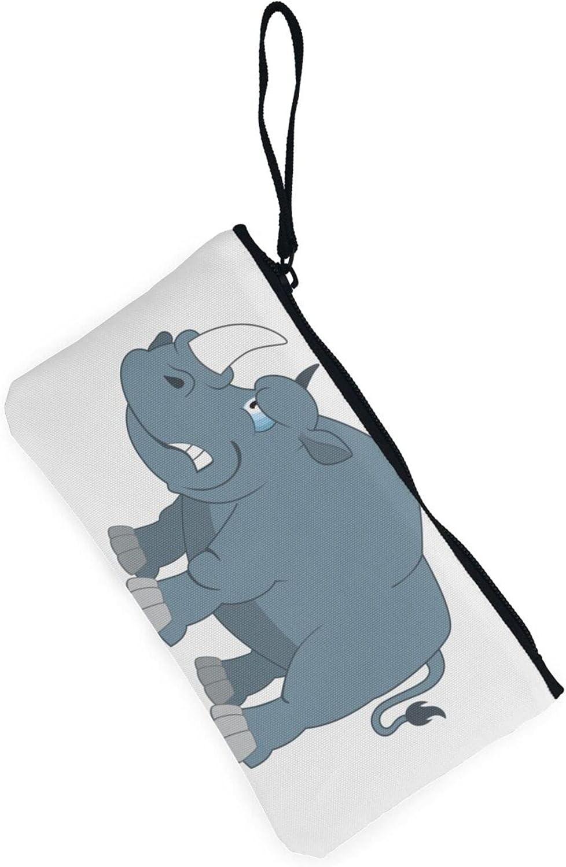 AORRUAM Rhinoceros Canvas Coin Purse,Canvas Zipper Pencil Cases,Canvas Change Purse Pouch Mini Wallet Coin Bag