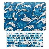 青い海波 ホワイト MacBook Air 13 インチ ケース 衝撃吸収 薄型 対応 A1466/A1369 MacBook Air 13 キーボードカバー ラップトップ MacBook Pro 13 キーボードカバー MacBook Pro 13 インチ ケース カバー A1706/A1989/A2159