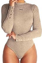 Frauen Stretch Bodysuit Langarm Top Damen Volltonfarbe Body Bodycon Overall Highdas
