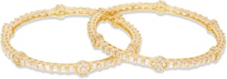 Ratna Indian Bollywood Gold Tone American Diamond Bangle Bracelet Set Traditional Partywear Wedding Costume Jewelry