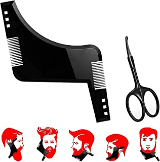 Beard Shaping Tool, Beard Lineup Tool with Round Tip Scissors Beard Shaper with inbuilt Comb for Perfect line up & Edging,...