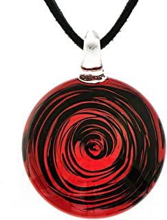 Hand Blown Venetian Murano Glass Circular Wave Art Pendant Necklace, 18-20''