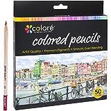 Lápices de colores Colore –Set de 50lápices de colores pretemplados de alta calidad para dibujar y colorear