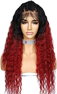 Sapphirewigs Ombre Red Color Curly Wig 150% Density Kanekalon Futura Hair 13×6 Lace Front Wig Pre-plucked with Baby Hair 2...
