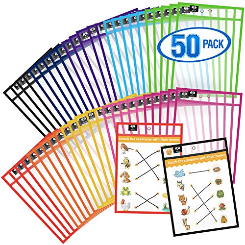 Dry Erase Pockets 50 Pack - Reusable Dry Erase Pockets - Plastic Sleeves - Job Ticket Holders - Dry Erase Sleeves - Multi-Colored Sheets Job - School - Classroom Supplies for Job - Teachers & Kids