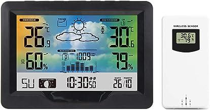 Romacci Estação meteorológica sem fio interna externa com tela colorida Estação de previsão do tempo com sensor externo Me...