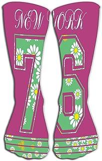 "GHEDPO High Socks Novelty Compression Long Socks for Men's Women and Girls 19.7""(50cm) New York Typography Fashion"