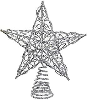 Kurt Adler Chirstmas Tree Topper Silver Glittered Wire Star Tree Topper 6 inches