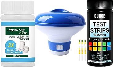 Duyifan Cloro Set Mantenimiento Agua Piscina | 100 Tabletas de Cloro + Dispensador de Cloro para Piscina Flotante + 100 Tiras Reactivas 7 en 1, Tabletas Limpiadoras de Piscinas Tabletas de Cloro (1)