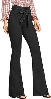 RISTHY Pantalones Acampanados Mujer Mujer Pantalones Vaqueros Campanas de Campana Cintura Alta Jeans de Mujer Elástico con...