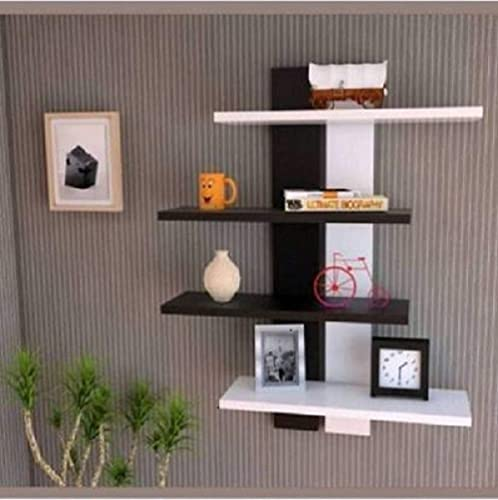 Antique Wood Hub MDF wooden Tree Shape Wall Shelves Book Shelves Wall Racks racks Shelf for kitchen bedroom Living Room Home Decoration use as book shelf or wall shelf Number of Shelves 4 Black White Can hold up to 5 10 Kg of weight
