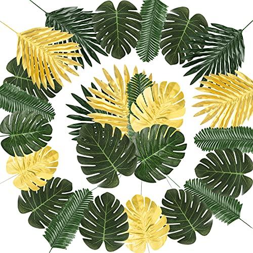NBFBA Hojas de Palma Artificial, 66 Piezas 7 Tipos Verde Plantas Artificiales...