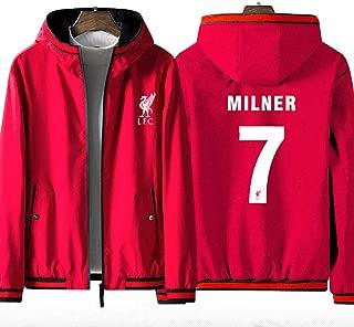 Men's Full Zip Football Hoodie Liverpool Football Club 7# James Milner Long Sleeve Comfortable Sport Sweatshirt Unisex Jacket (No Shirt)