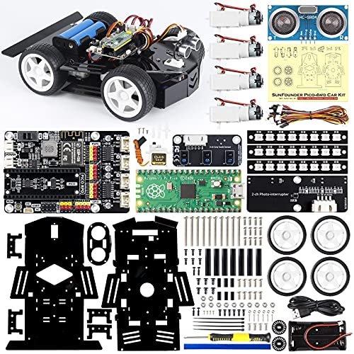SunFounder Raspberry Pi Pico Robot Car Kit, Open Source, MicroPython, App Control, RGB LED, Electronic DIY Robot Kit for Teens and Adults